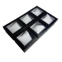 6 écrins cadeaux de couleur noire avec coussin 9x5.5x8.5cm - 10070