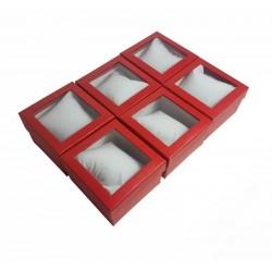 6 écrins cadeaux de couleur rouge avec coussin 8.5x5.5x8.5cm - 10040