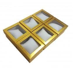 6 écrins cadeaux de couleur dorée avec coussin 8.5x5.5x8.5cm - 10042