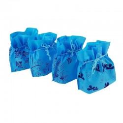 Lot de 12 pochettes non tissées couleur bleu cyan 26x20x11cm - 6630
