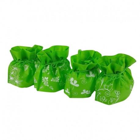 Lot de 12 pochettes non tissées couleur vert pomme 26x20x11cm - 6631