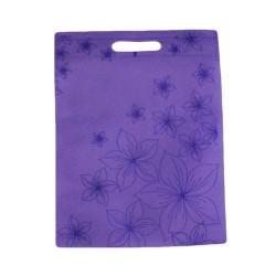Lot de 12 sacs intissés de couleur mauves imprimé fleurs - 6116