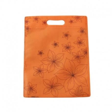 Lot de 12 sacs intissés de couleur oranges imprimé fleurs - 6117