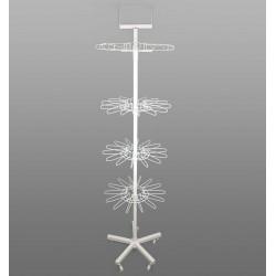 Présentoir antivol tourniquet en métal blanc 4 étages - 1751b