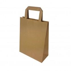 50 sacs cabas poignées plates en papier kraft brun 22+10x28cm - 6640