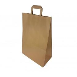 50 grands sacs cabas poignées plates en papier kraft brun 32+17x44cm - 6642