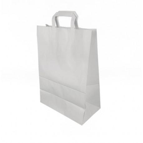 50 grands sacs cabas poignées plates en papier kraft blanc 32+17x44cm - 6643