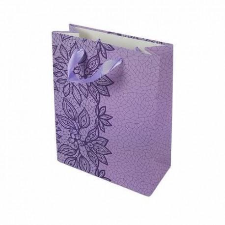 12 sacs cadeaux mauve motif dentelle fleurie violet 23x18.5x8cm - 6647