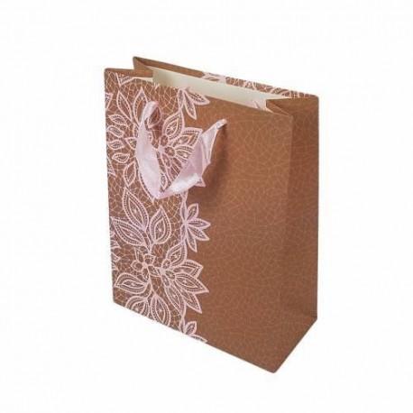 12 sacs cadeaux brun clair motif dentelle fleurie rose pêche 23x18.5x8cm - 6648