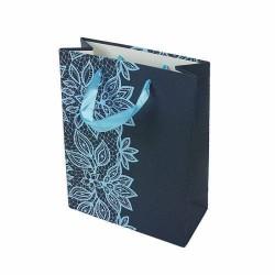 Lot de 12 sacs cadeaux bleu minéral motifs dentelle couleur bleu cyan 31.5x25x10cm - 6649