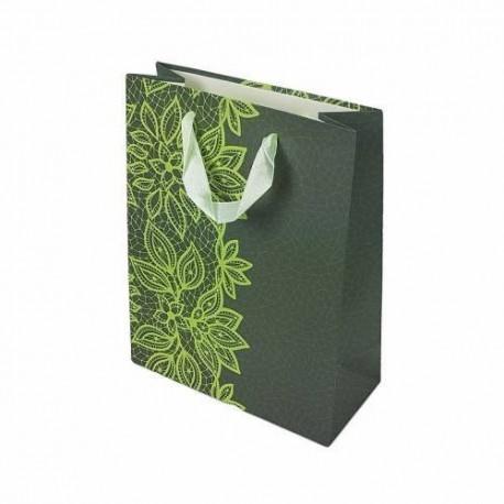Lot de 12 sacs cadeaux gris foncé motifs dentelle couleur vert anis 31.5x25x10cm - 6650
