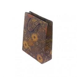 12 sacs cabas en papier kraft bleu ardoise motifs à fleurs 20x15x6cm - 6657