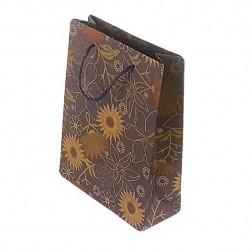 12 sacs en papier kraft bleu ardoise dessins fleurs 33x24x8cm - 6659
