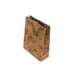 12 petits sacs kraft couleur brun naturel motif fleurs 14.5x11.5x5.5cm - 6661