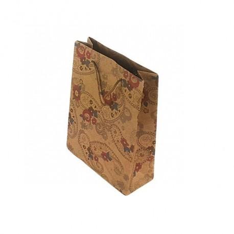 12 sacs cabas en papier kraft brun naturel motifs à fleurs 20x15x6cm - 6662