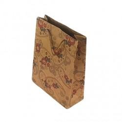 12 sacs cabas kraft de couleur brun motifs fleurs 24.5x19x8cm - 6663