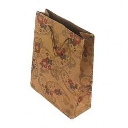 12 sacs en papier kraft brun naturel dessins fleurs 33x24x8cm - 6664