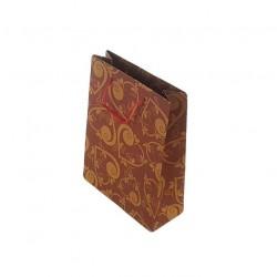 12 sacs cabas en papier kraft rouge motifs coeurs 20x15x6cm - 6667
