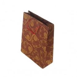 12 sacs cabas kraft de couleur rouge motifs coeurs 24.5x19x8cm - 6668
