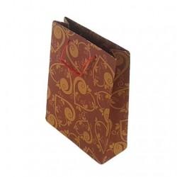 12 sacs en papier kraft rouge motif coeurs 33x24x8cm - 6669