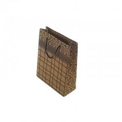 12 petits sacs kraft couleur brun motif baroque et quadrillage 14.5x11.5x5.5cm - 6671