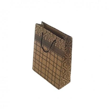 12 sacs cabas en papier kraft brun motifs baroque et quadrillage 20x15x6cm - 6672
