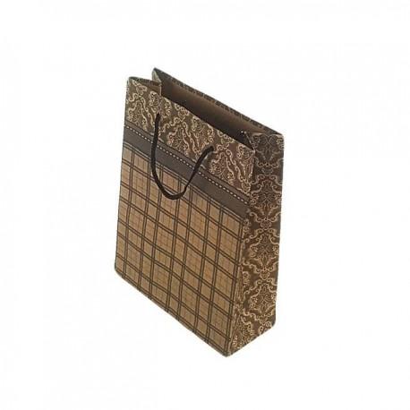 12 sacs cabas kraft de couleur brun motifs baroque et quadrillage 24.5x19x8cm - 6673