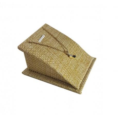 Support bijoux en toile de jute beige pour pendentif - 6704