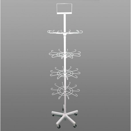 Grand présentoir métal blanc 4 étages - 0060