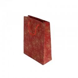 12 sacs cabas en papier kraft rouge motifs à fleurs 20x15x6cm - 6723