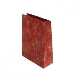 12 sacs cabas kraft de couleur rouge motifs fleurs 24.5x19x8cm - 6724