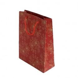 12 sacs en papier kraft rouge dessins fleurs 33x24x8cm - 6725