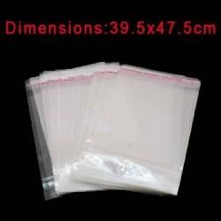 Lot de 100 grands sacs à rabat adhésif transparents 43x39cm - 6766