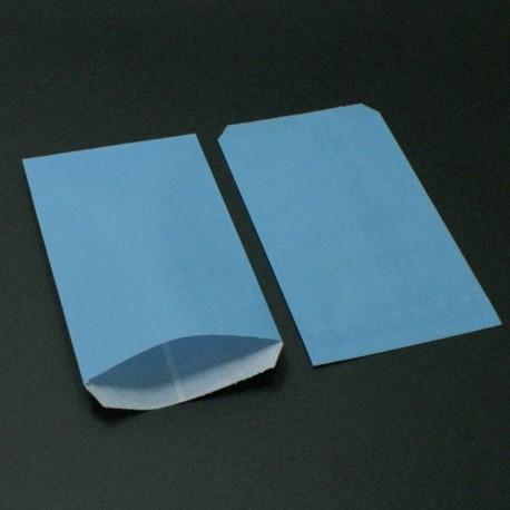 Boîte de 250 sachets cadeaux kraft bleu ciel 11+5x21cm - 8025