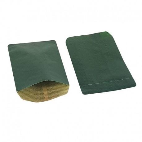 Boîte de 250 sachets cadeaux kraft vert sapin 11+5x21cm - 8028