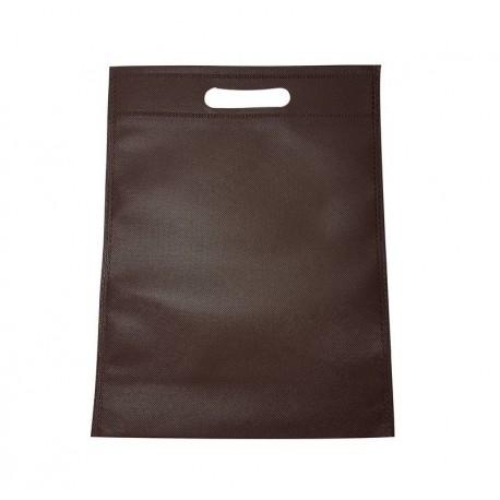 12 sacs non-tissés couleur marron chocolat uni - 6769