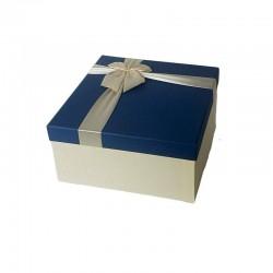 Coffret cadeaux bicolore écru avec couvercle bleu 16.5x16.5x9.5cm - 6792p