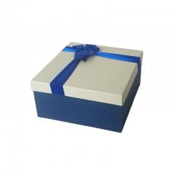 Coffret cadeaux bicolore bleu et écru 16.5x16.5x9.5cm - 6795p