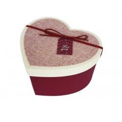 Coffret cadeaux de couleur rouge en forme de coeur 20x16x11.5cm - 6802m