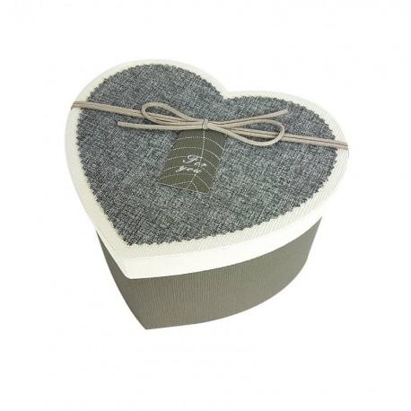 Petit coffret cadeaux gris en forme de coeur 16.5x14x10cm - 6798p
