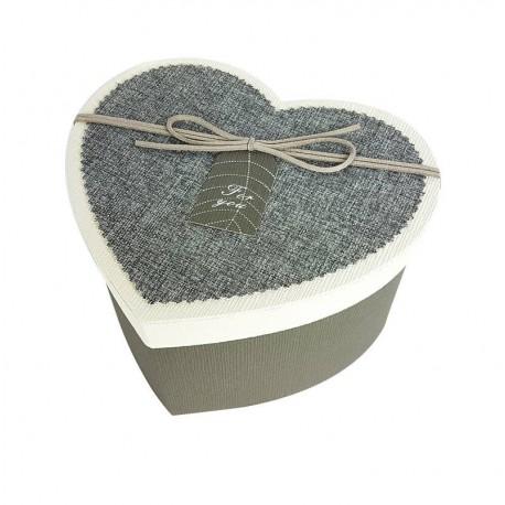 Coffret cadeaux de couleur gris en forme de coeur 20x16x11.5cm - 6799m