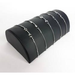 Support bracelets demi cylindre en simili cuir noir - 6810