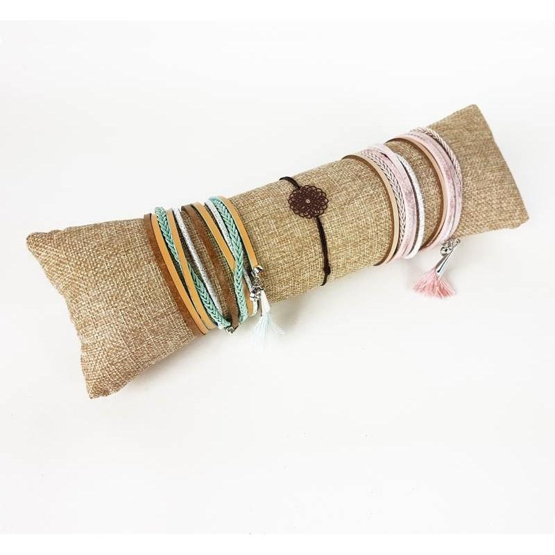 grand coussin bracelet toile de jute pr sentoir bracelets. Black Bedroom Furniture Sets. Home Design Ideas