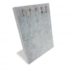 Baguier vertical en velours de couleur grise - 6826