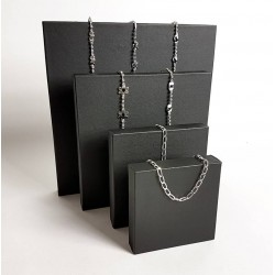 Lot de 4 volumes carrés en simili cuir noir - 6812