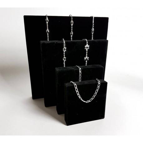 Lot de 4 volumes carrés en velours noir - 6814