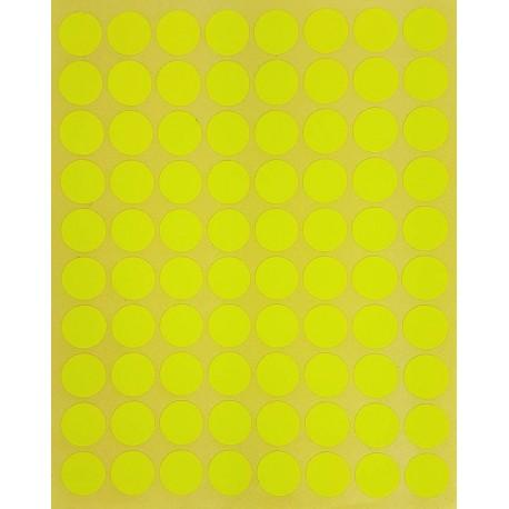 800 petites gommettes rondes de couleur jaune fluo ø 15mm - 6857