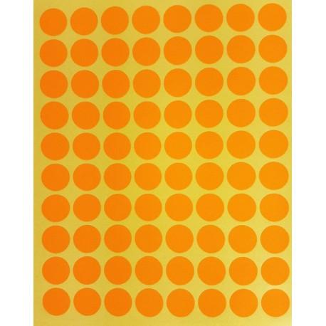 800 petites gommettes rondes de couleur orange clair ø 15mm - 6859