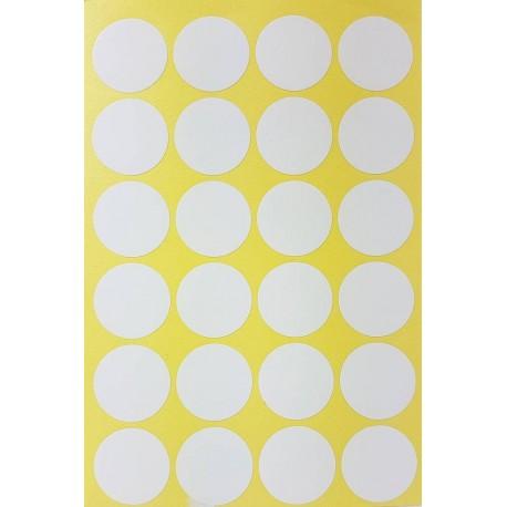 240 gommettes de ø 25mm de couleur blanche - 6862