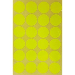 240 gommettes de ø 25mm de couleur jaune fluo - 6863